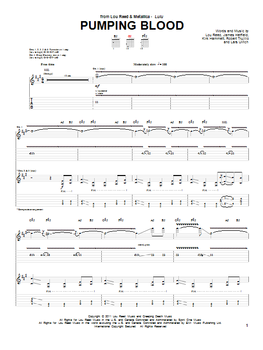 Tablature guitare Pumping Blood de Lou Reed & Metallica - Tablature Guitare