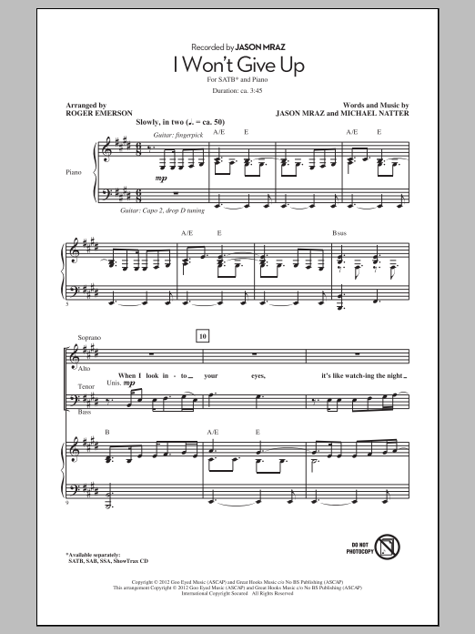Partition chorale I Won't Give Up de Jason Mraz - SATB