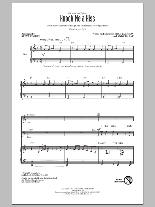 Partition chorale Knock Me A Kiss de Steve Zegree - SATB