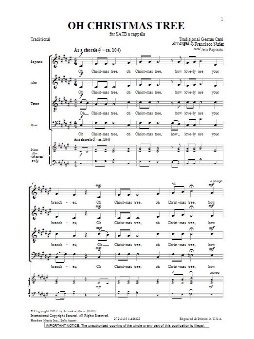 Partition chorale O Christmas Tree de Jim Papoulis - SATB
