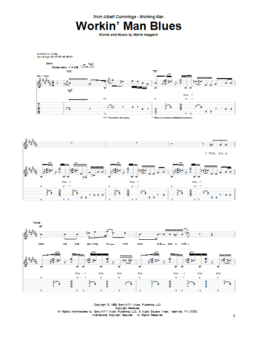 Workin' Man Blues sheet music for guitar solo (tablature) by Merle Haggard