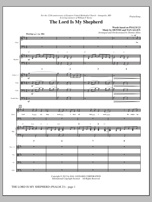 The Lord Is My Shepherd sheet music for orchestra/band (Rhythm/Strings) by Nan Allen