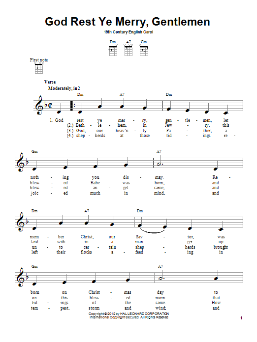 Tablature guitare God Rest Ye Merry, Gentlemen de 19th Century English Carol - Ukulele