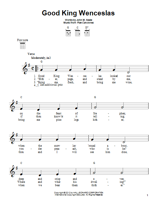 Tablature guitare Good King Wenceslas de Piae Cantiones - Ukulele
