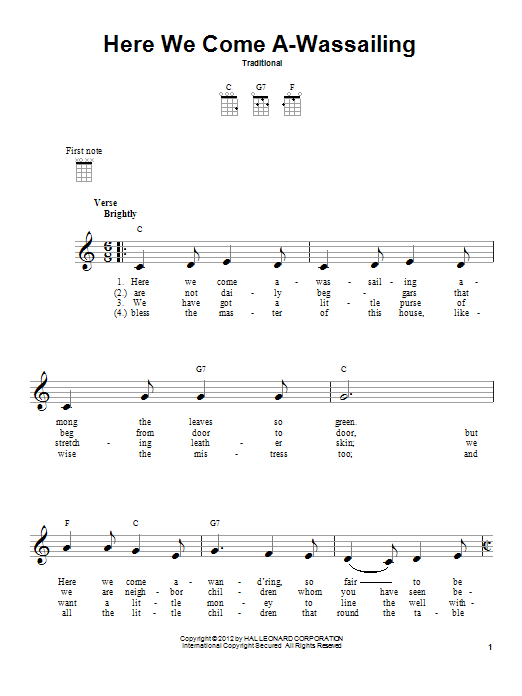 Tablature guitare Here We Come A-Wassailing de Traditional - Ukulele