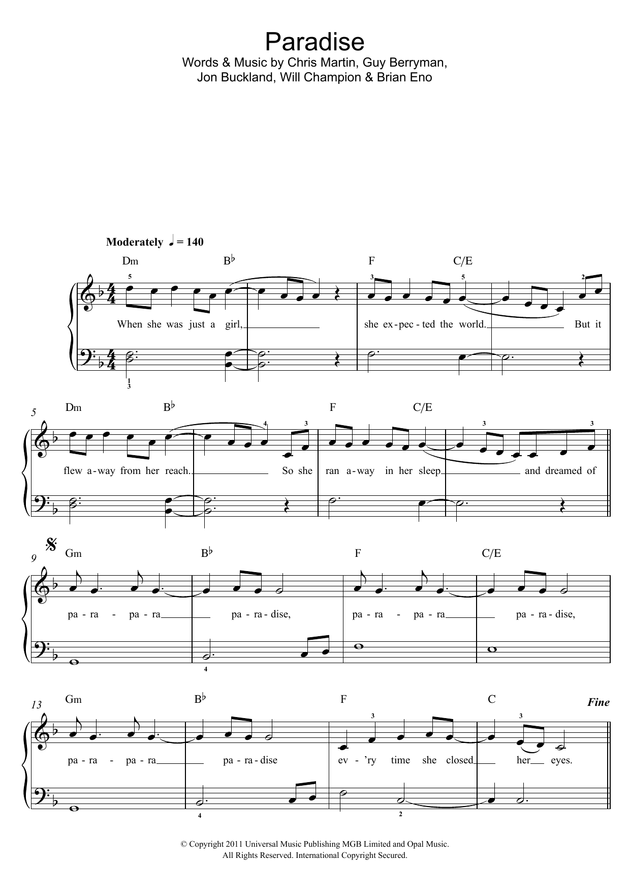 how to play paradise on piano notes