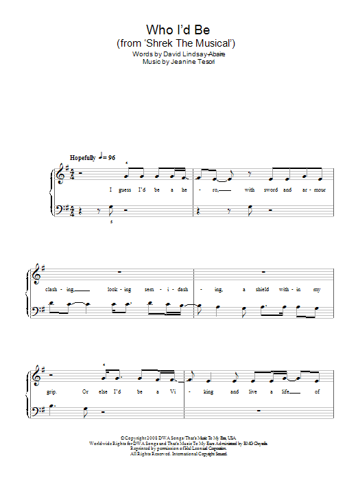 Who I'd Be (from Shrek The Musical) sheet music for piano solo (chords) by David Lindsay-Abaire