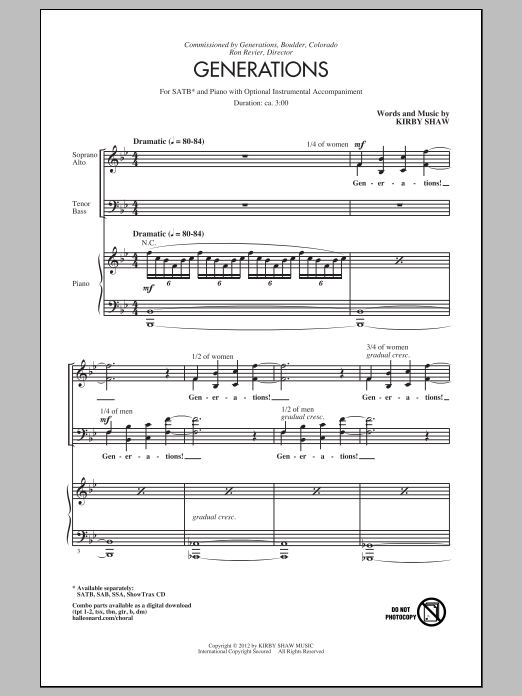 Partition chorale Generations de Kirby Shaw - SATB