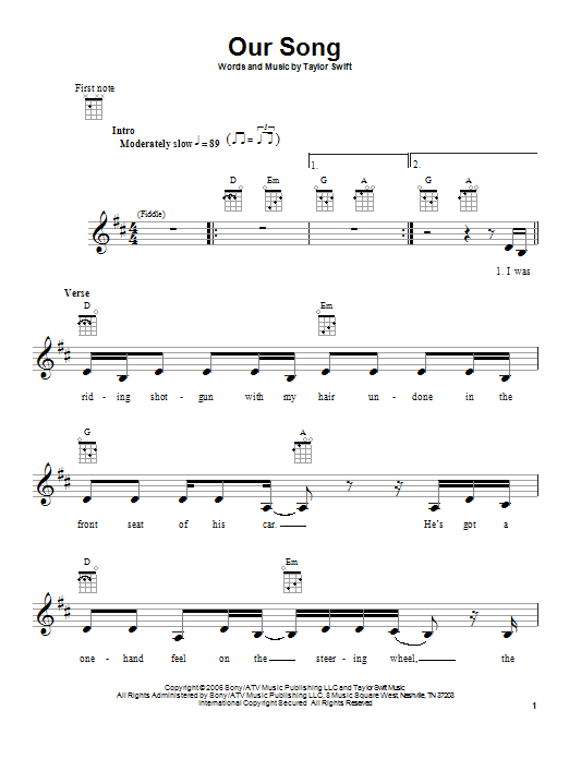 Tablature guitare Our Song de Taylor Swift - Ukulele