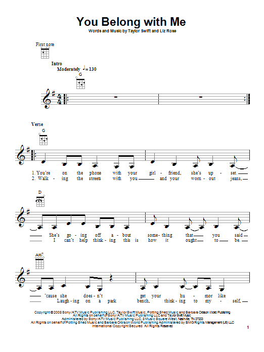 Tablature guitare You Belong With Me de Taylor Swift - Ukulele