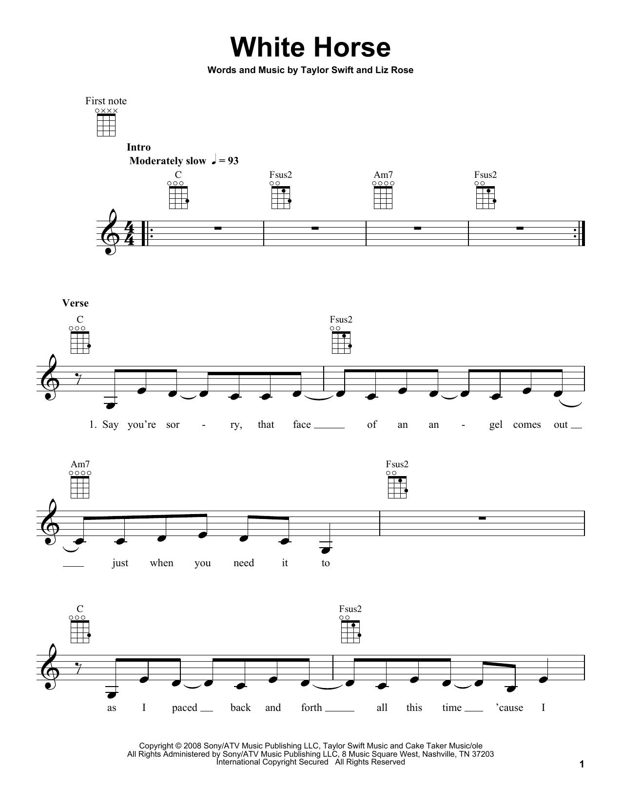 Tablature guitare White Horse de Taylor Swift - Ukulele