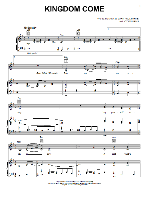 Kingdom Come sheet music for voice, piano or guitar by Joy Williams