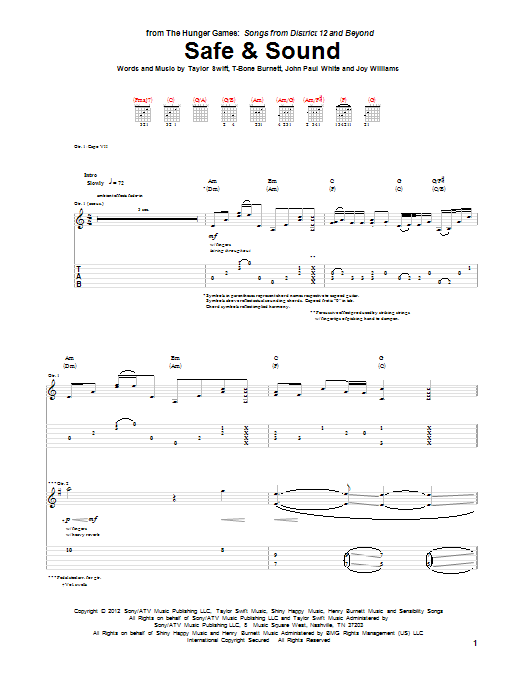 Safe And Sound sheet music for guitar solo (tablature) by T-Bone Burnett