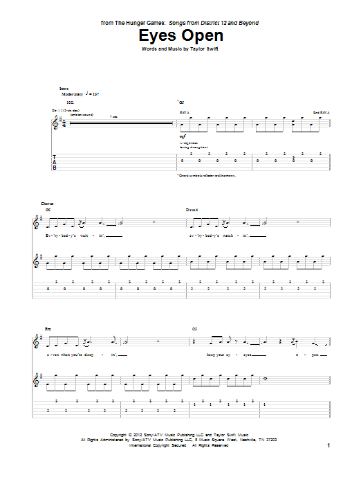 Tablature guitare Eyes Open de Taylor Swift - Tablature Guitare