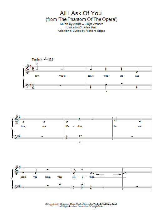 All I Ask Of You (from The Phantom Of The Opera) sheet music for piano solo (chords) by Richard Stilgoe