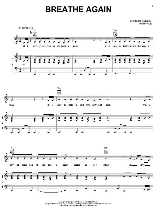 Partition piano Breathe Again de Toni Braxton - Piano Voix Guitare (Mélodie Main Droite)
