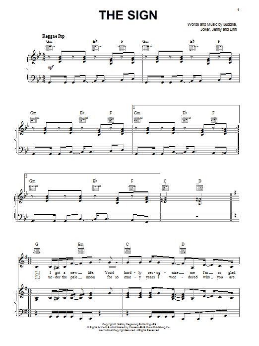 Partition piano The Sign de Ace Of Base - Piano Voix Guitare (Mélodie Main Droite)