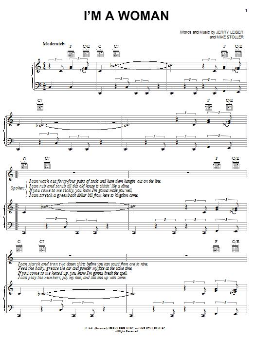 Partition piano I'm A Woman de Peggy Lee - Piano Voix Guitare (Mélodie Main Droite)