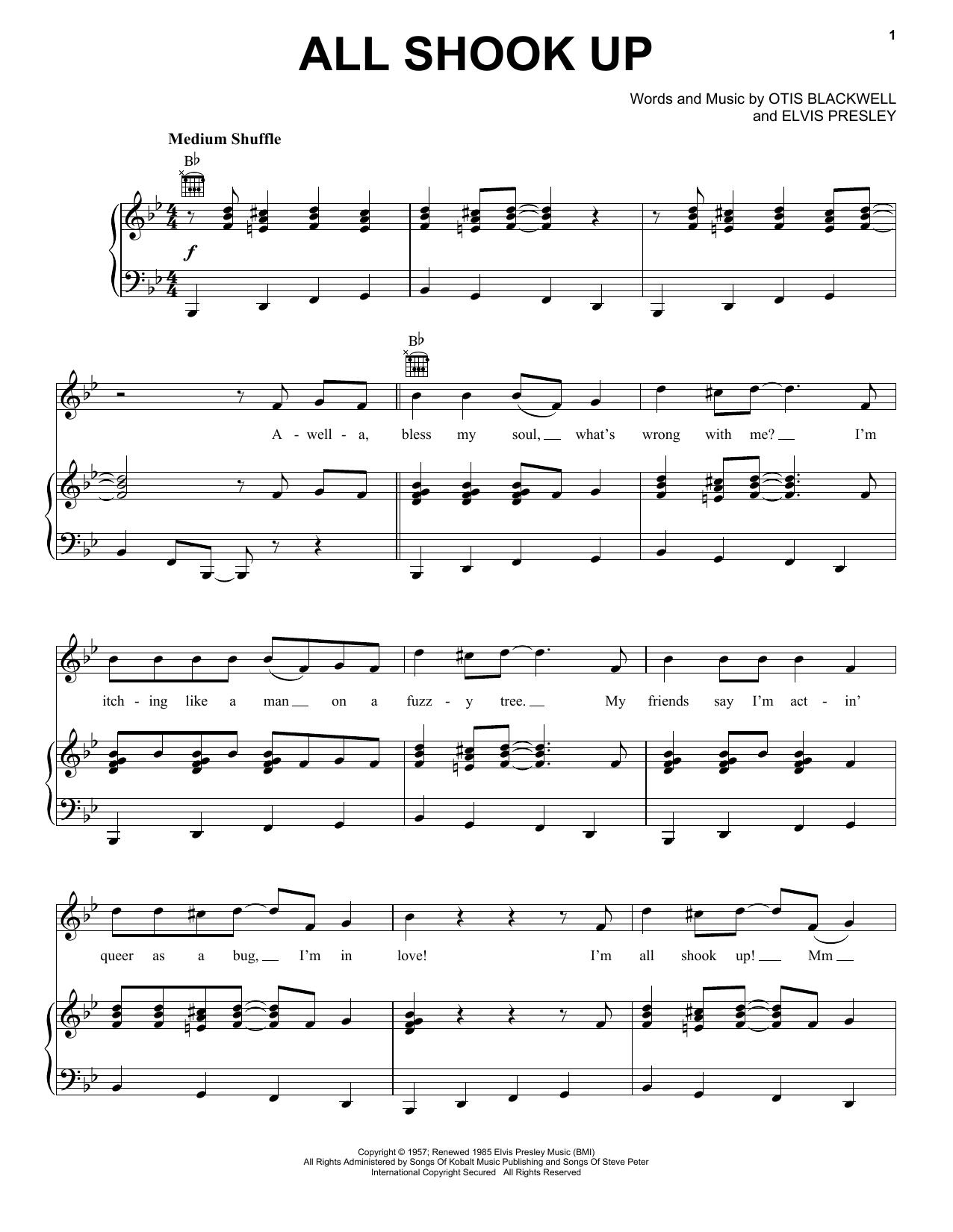 Partition piano All Shook Up de Elvis Presley - Piano Voix Guitare (Mélodie Main Droite)