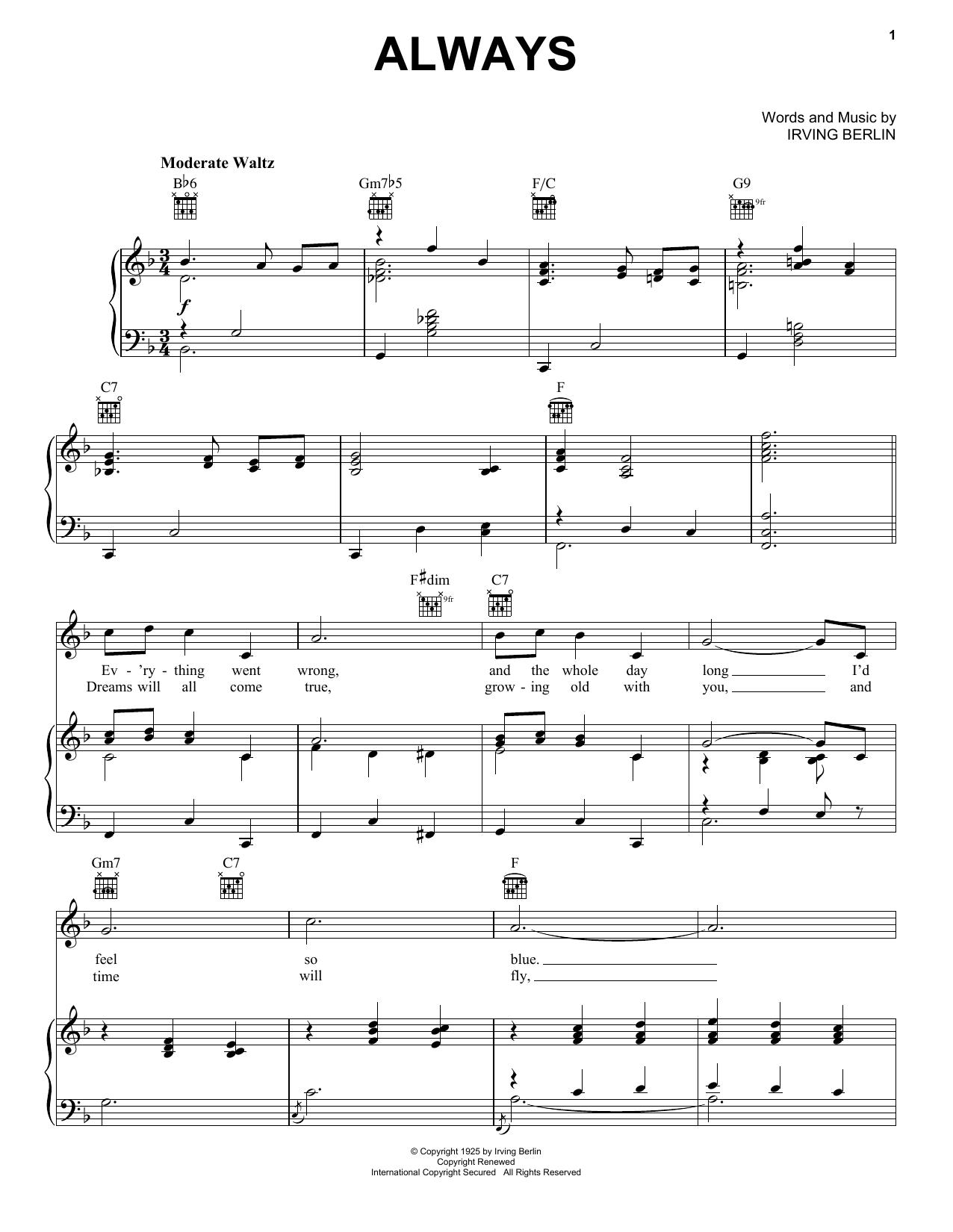 Partition piano Always de Billie Holiday - Piano Voix Guitare (Mélodie Main Droite)