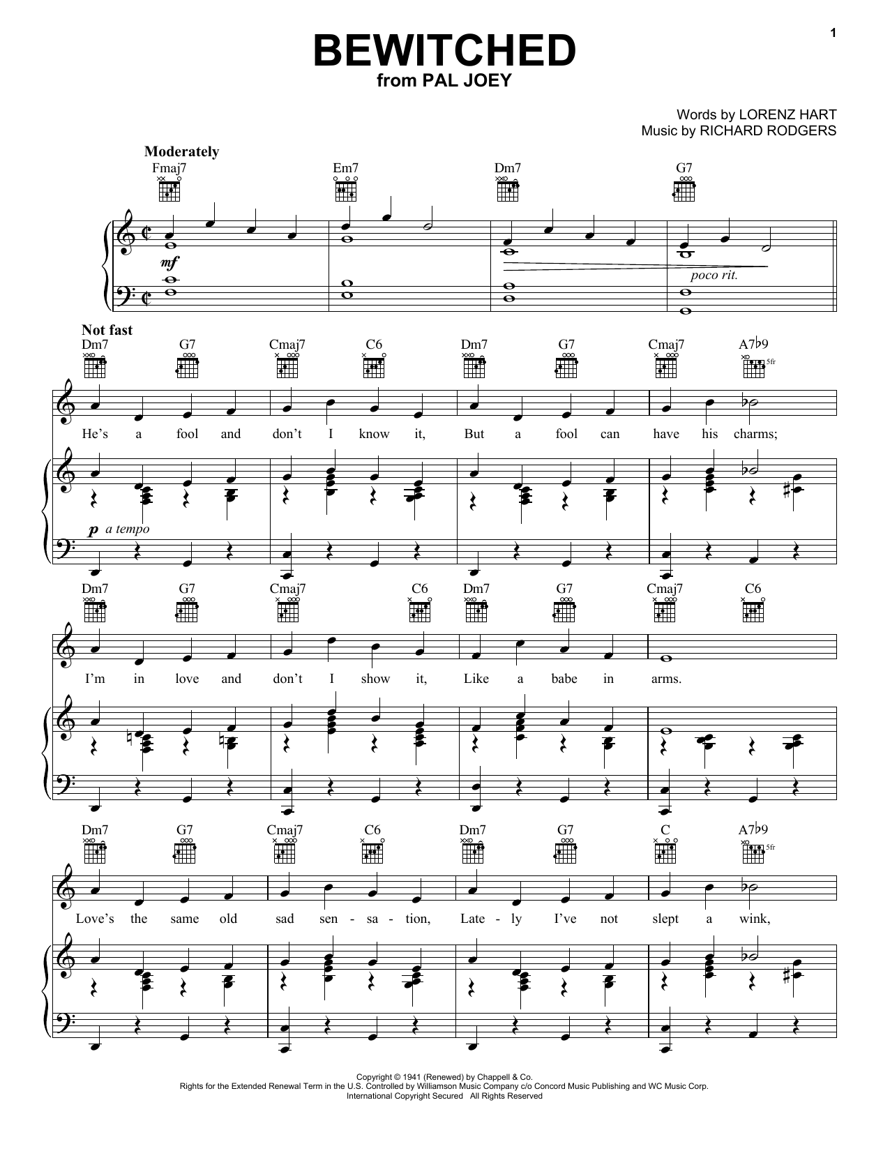 Bewitched sheet music for voice, piano or guitar by Richard Rodgers