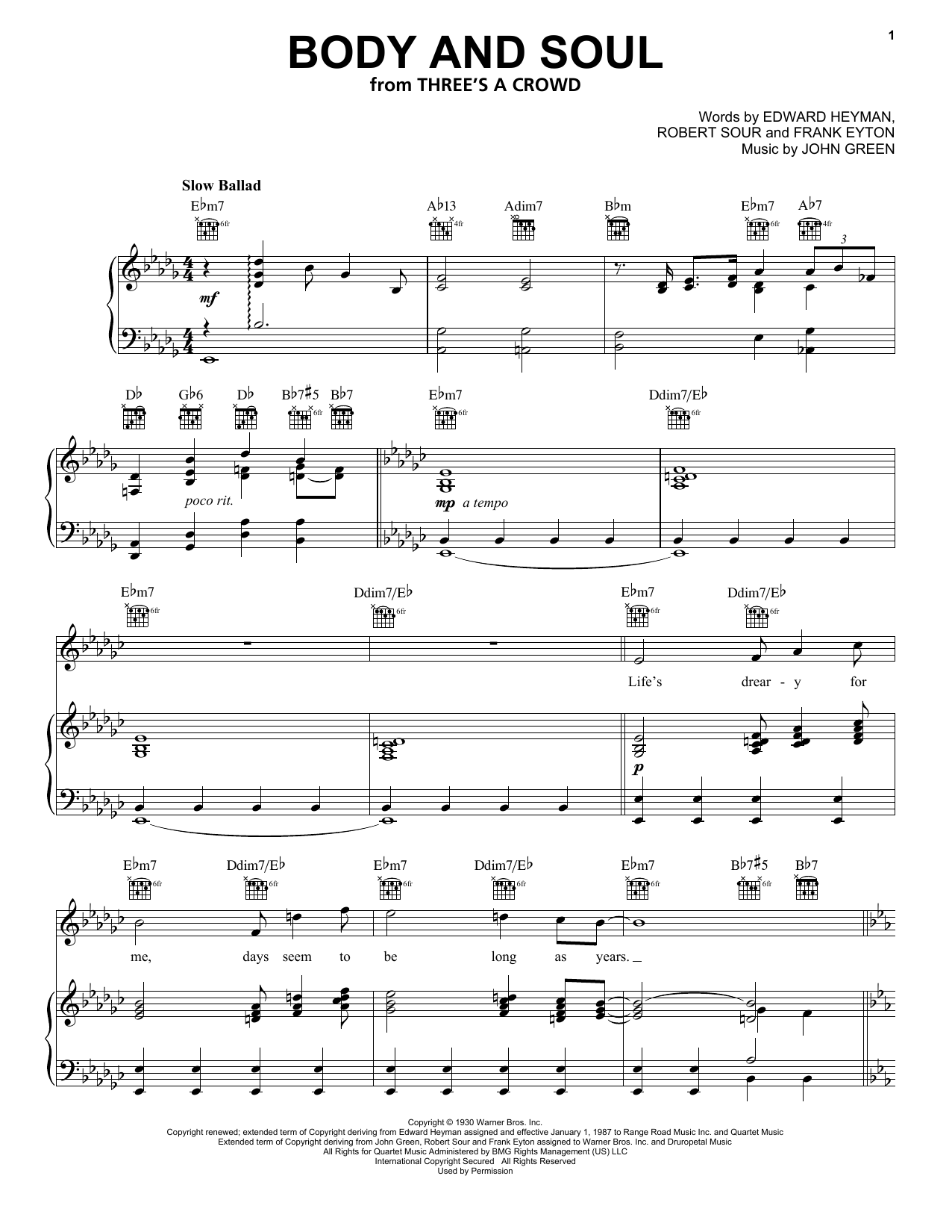 Body And Soul sheet music for voice, piano or guitar by Robert Sour
