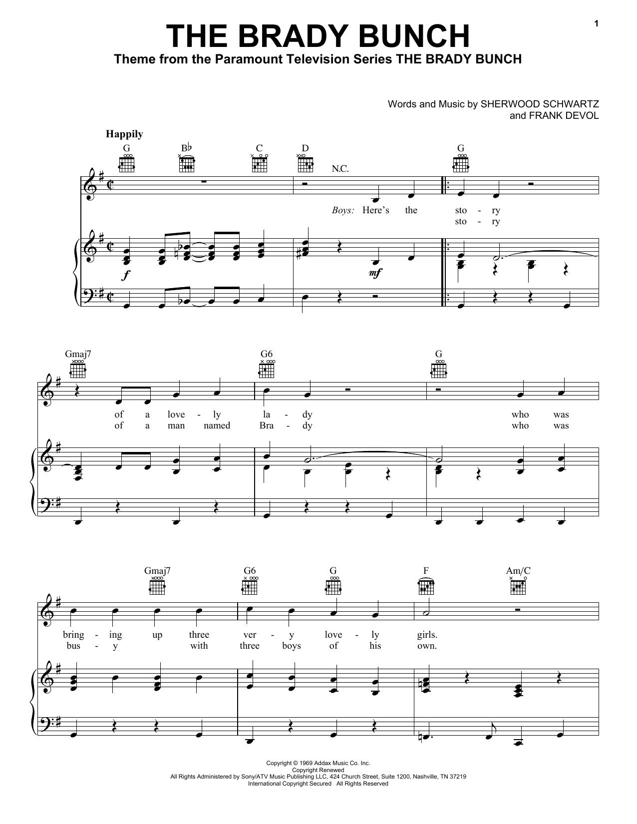 Partition piano The Brady Bunch de Frank Devol - Piano Voix Guitare (Mélodie Main Droite)
