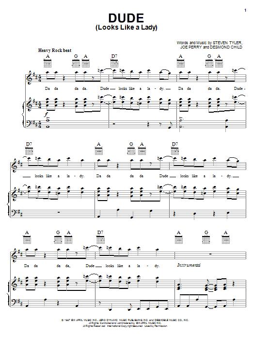 Partition piano Dude (Looks Like A Lady) de Aerosmith - Piano Voix Guitare (Mélodie Main Droite)
