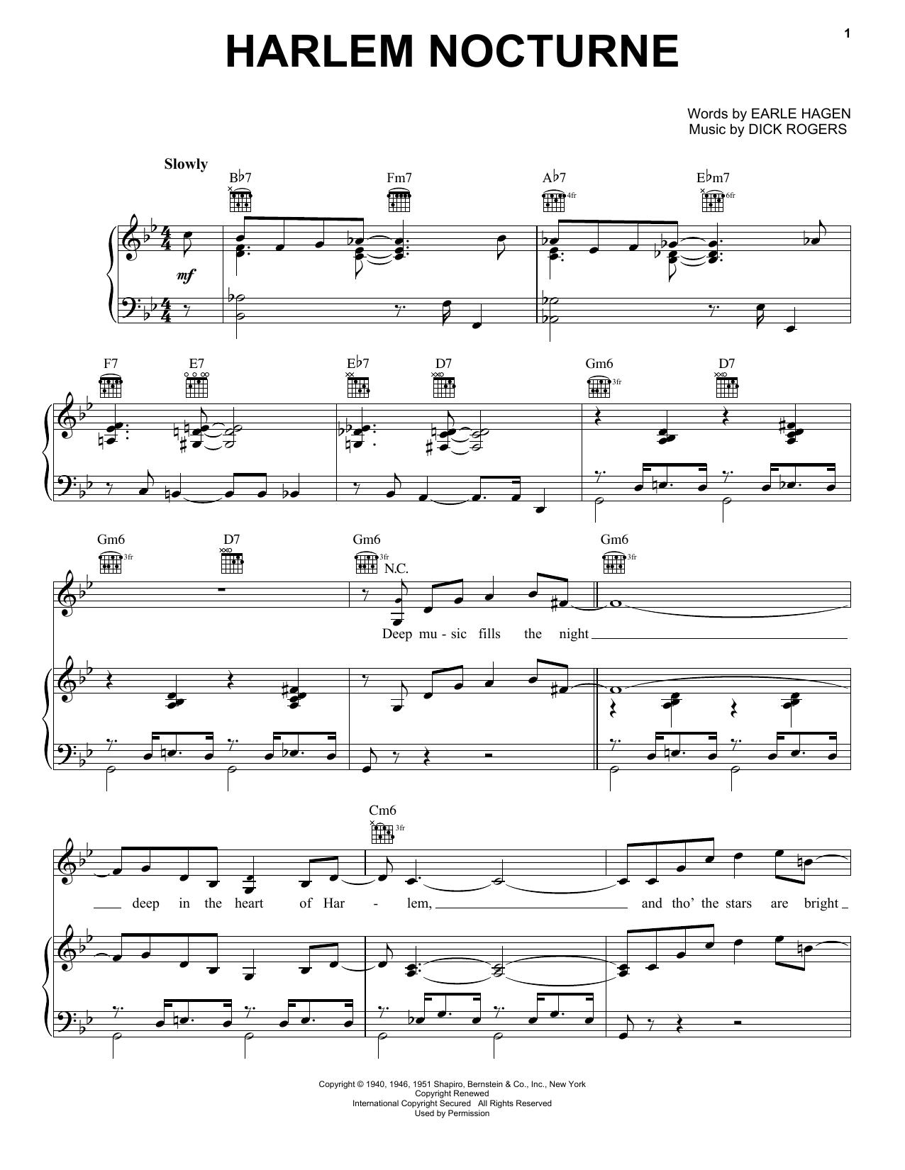 Partition piano Harlem Nocturne de Dick Rogers - Piano Voix Guitare (Mélodie Main Droite)