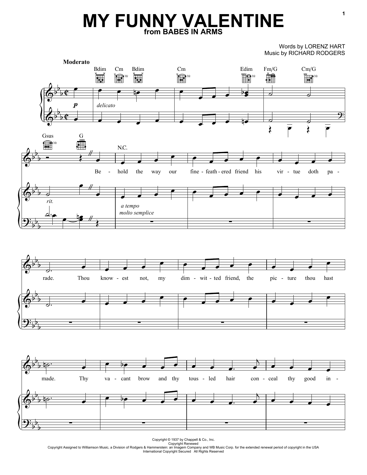 Partition piano My Funny Valentine de Frank Sinatra - Piano Voix Guitare (Mélodie Main Droite)