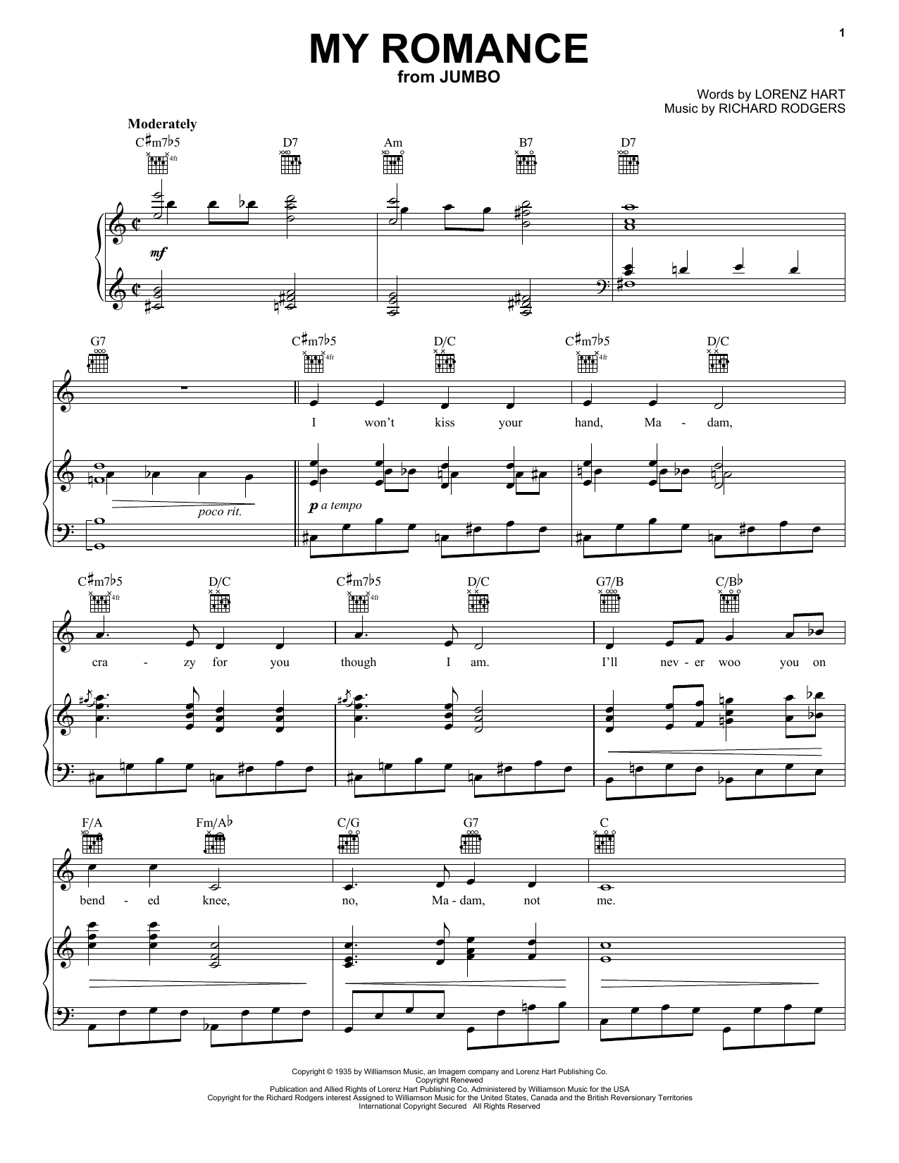 Partition piano My Romance de Lorenz Hart - Piano Voix Guitare (Mélodie Main Droite)