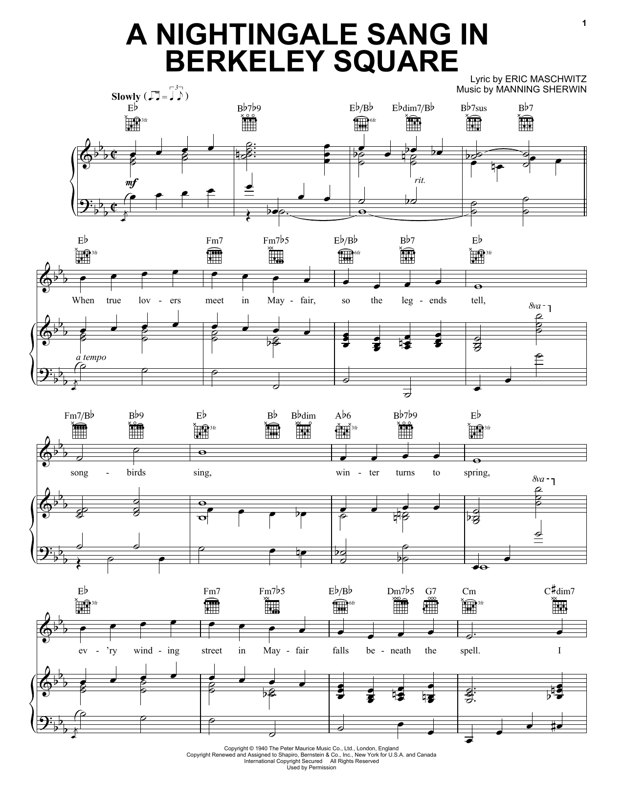 Partition piano A Nightingale Sang In Berkeley Square de Manhattan Transfer - Piano Voix Guitare (Mélodie Main Droite)