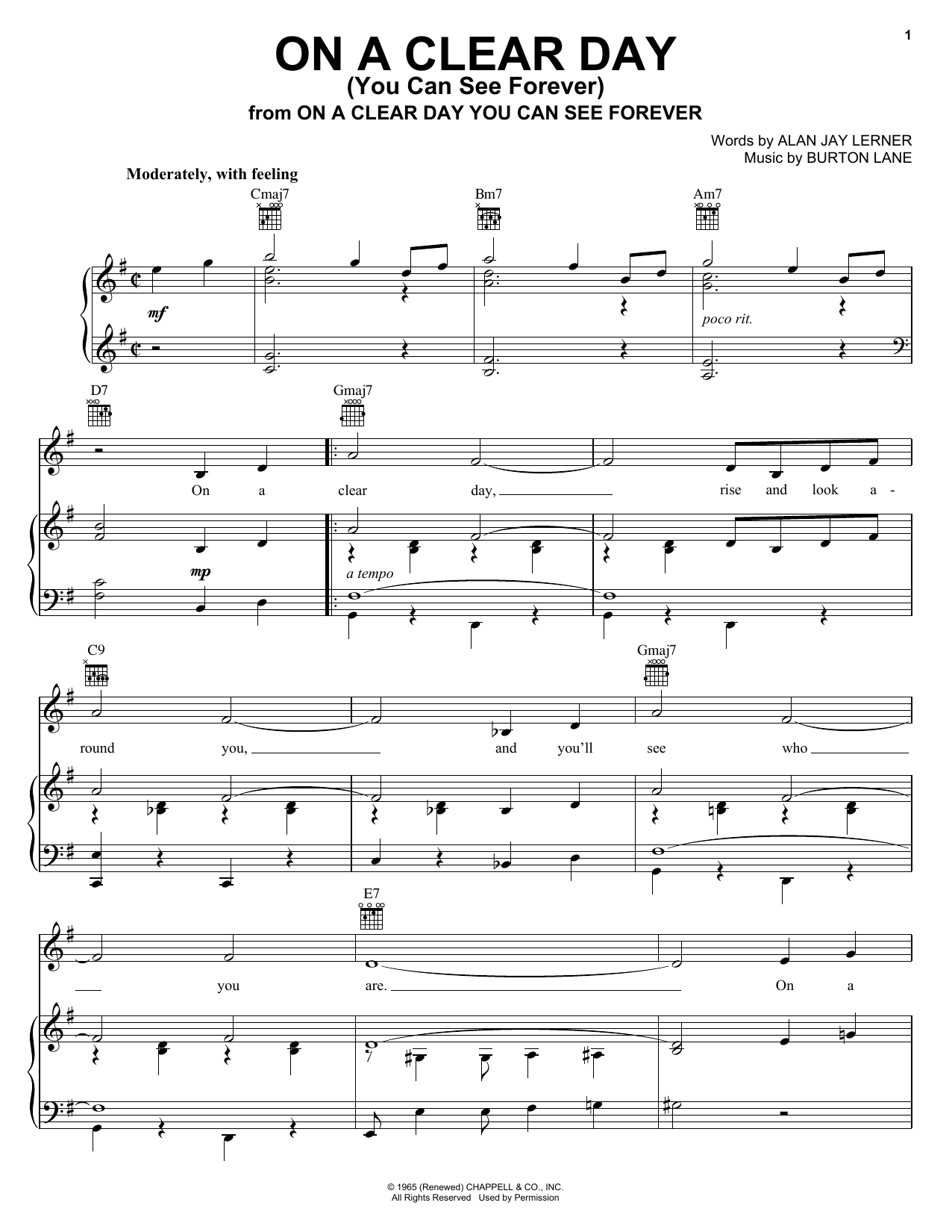 Partition piano On A Clear Day (You Can See Forever) de Alan Jay Lerner - Piano Voix Guitare (Mélodie Main Droite)
