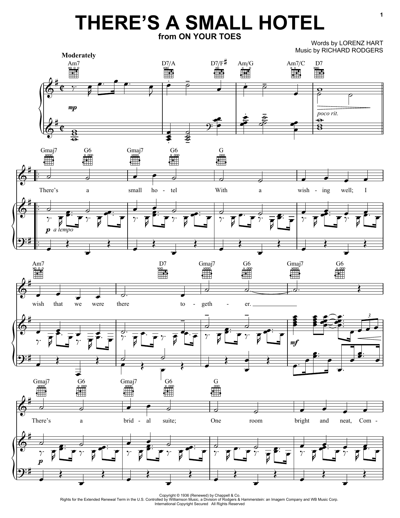 Partition piano There's A Small Hotel de Charlie Byrd - Piano Voix Guitare (Mélodie Main Droite)