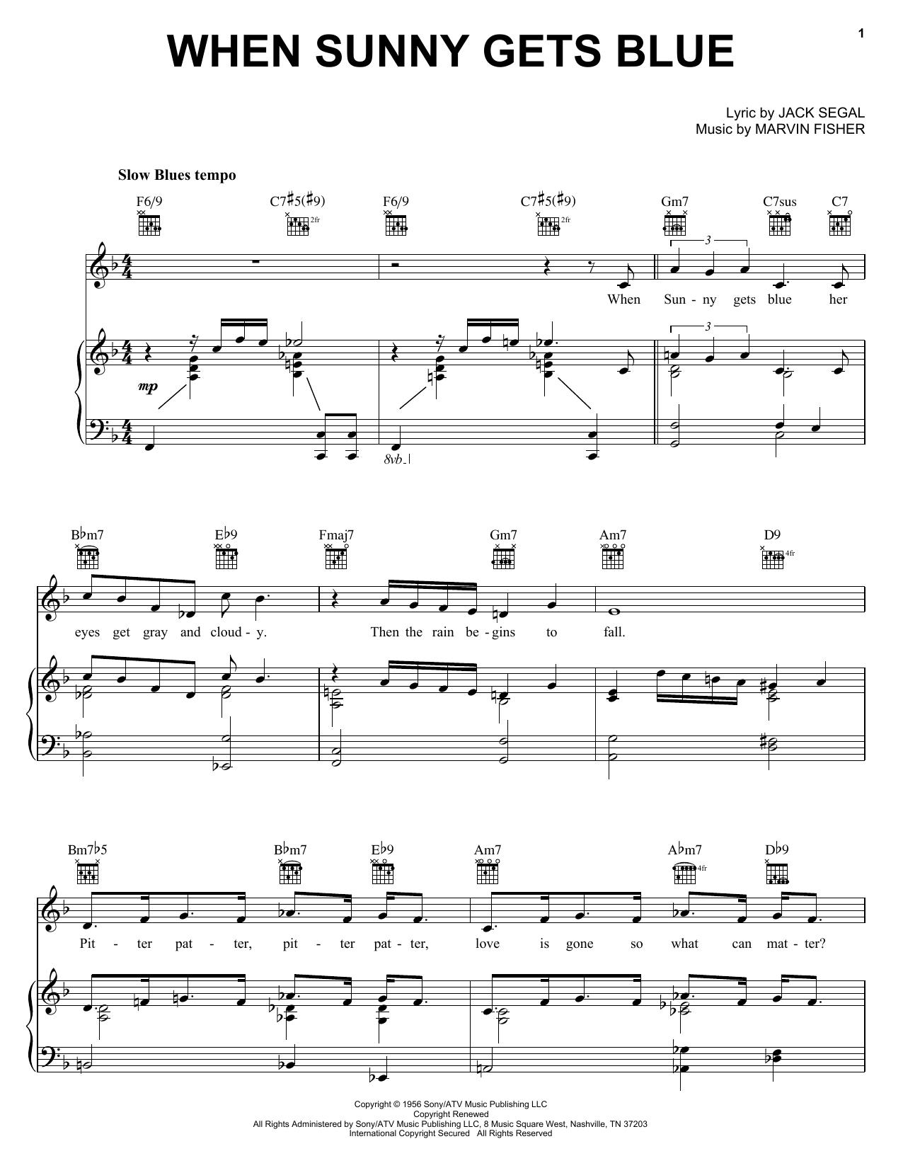 Partition piano When Sunny Gets Blue de Sarah Vaughan - Piano Voix Guitare (Mélodie Main Droite)