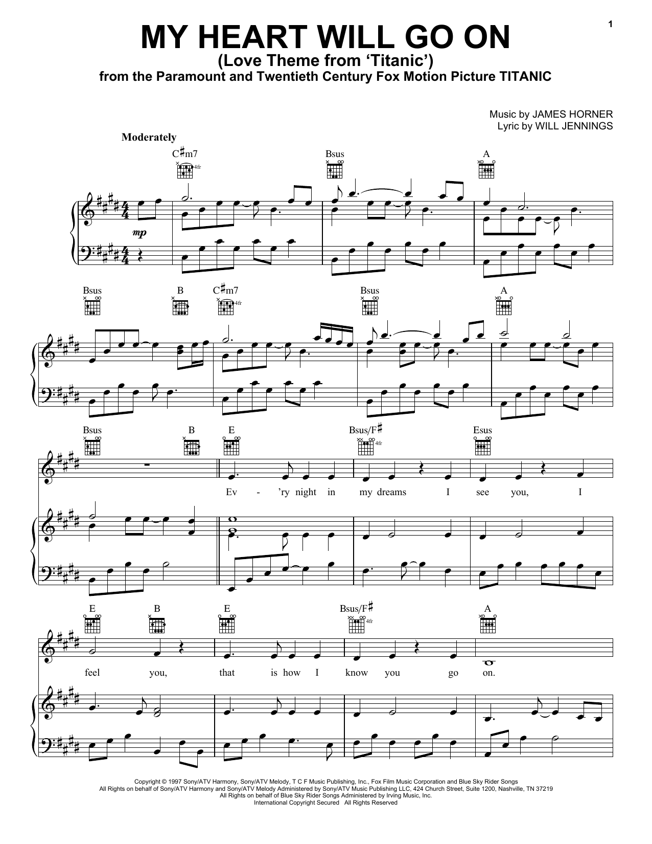 My Heart Will Go On (Love Theme from Titanic) sheet music by Celine Dion (Piano, Vocal u0026 Guitar ...