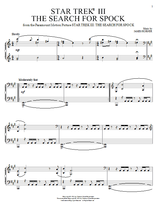 Partition piano Theme from Star Trek III de James Horner - Piano Solo