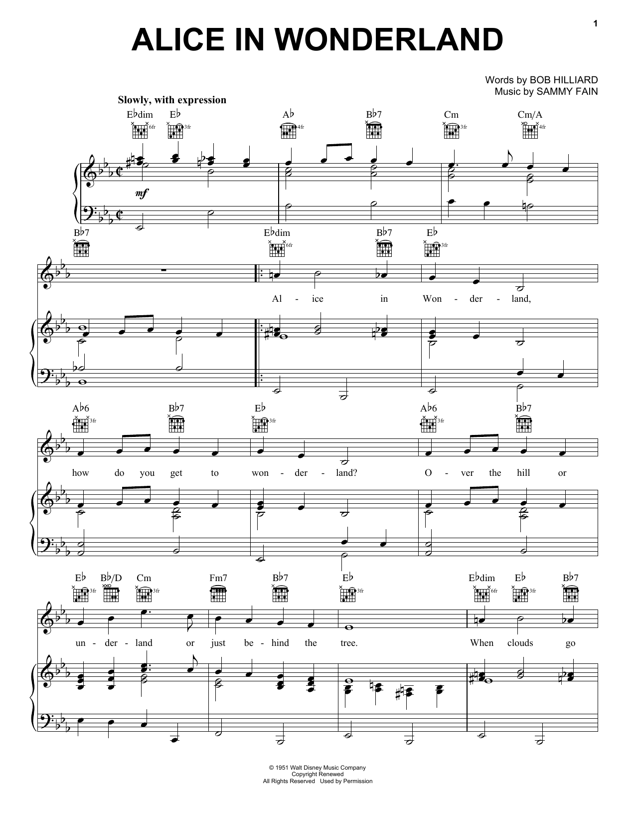 Alice In Wonderland sheet music for voice, piano or guitar by Sammy Fain
