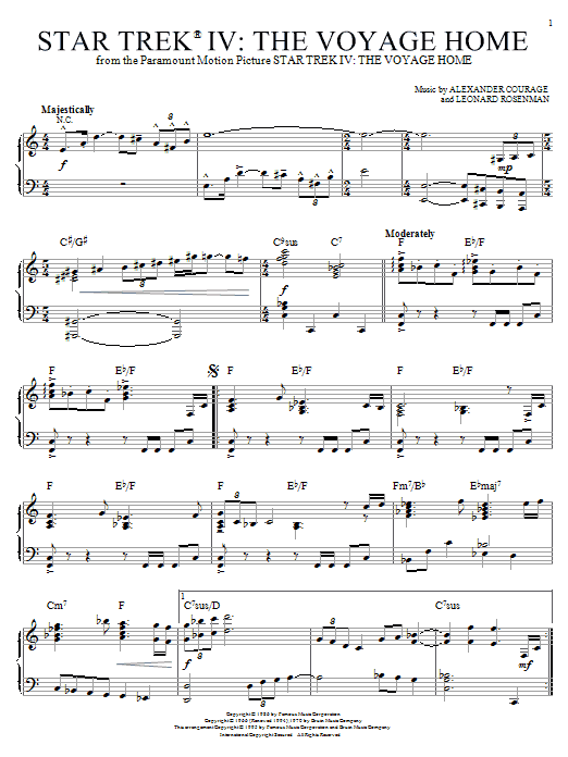 Partition piano Theme from Star Trek IV de Alexander Courage - Piano Solo