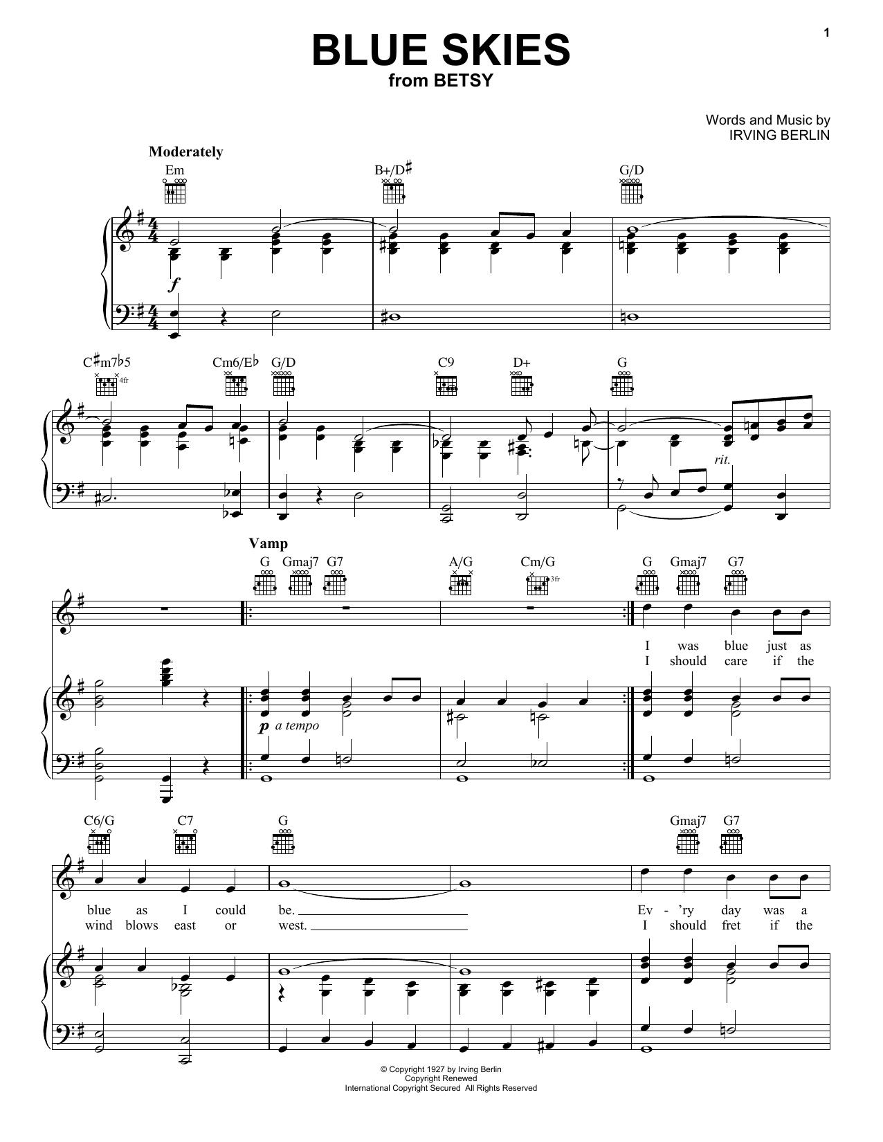 Partition piano Blue Skies de Irving Berlin - Piano Voix Guitare (Mélodie Main Droite)