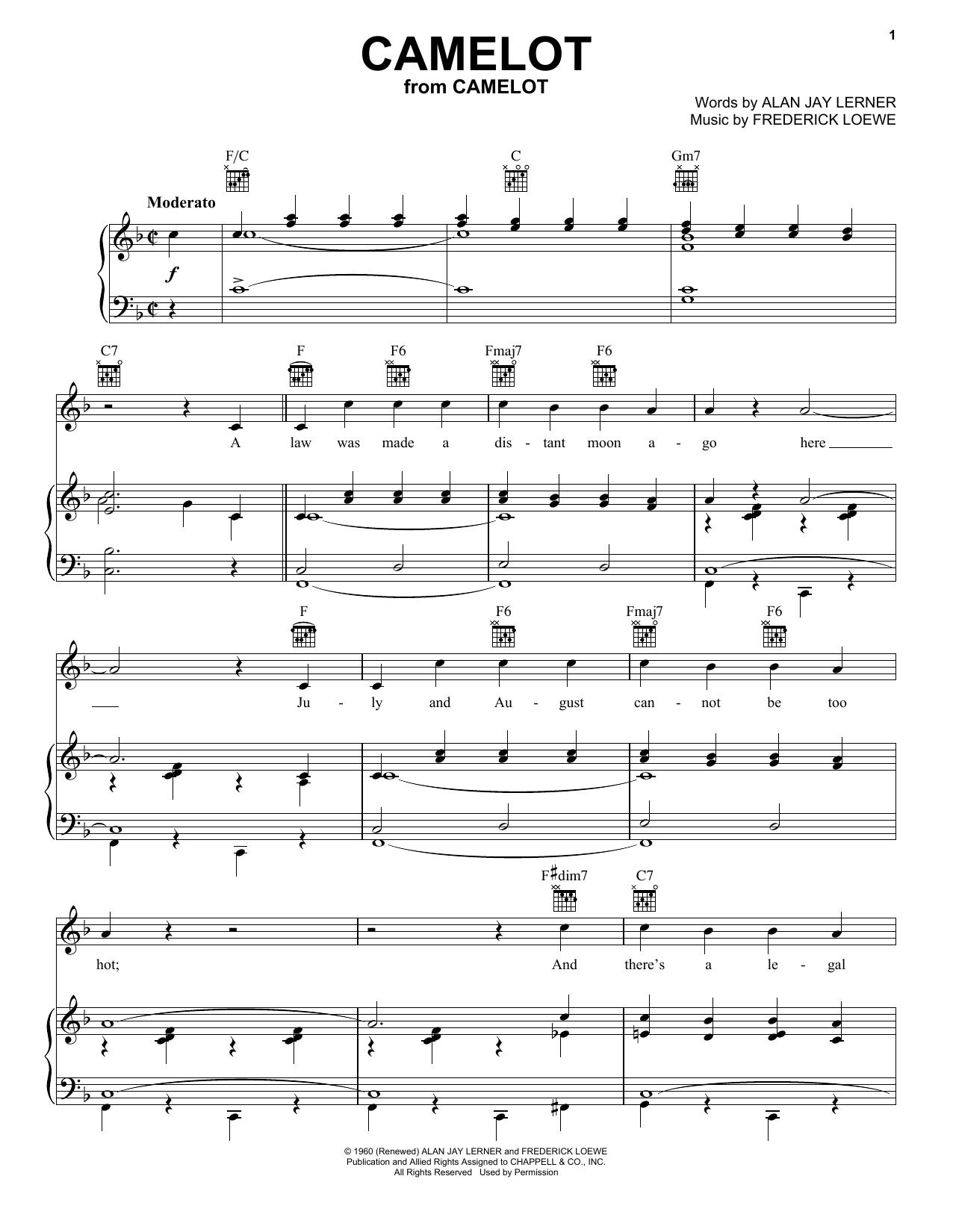 Partition piano Camelot de Richard Burton - Piano Voix Guitare (Mélodie Main Droite)