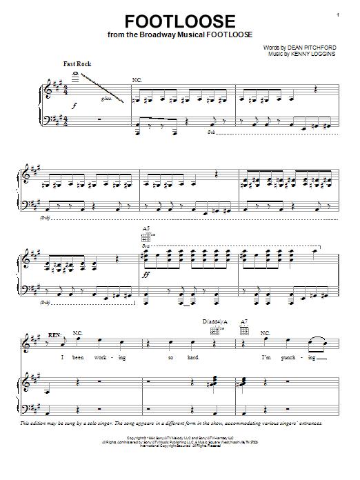 Partition piano Footloose de Kenny Loggins - Piano Voix Guitare (Mélodie Main Droite)