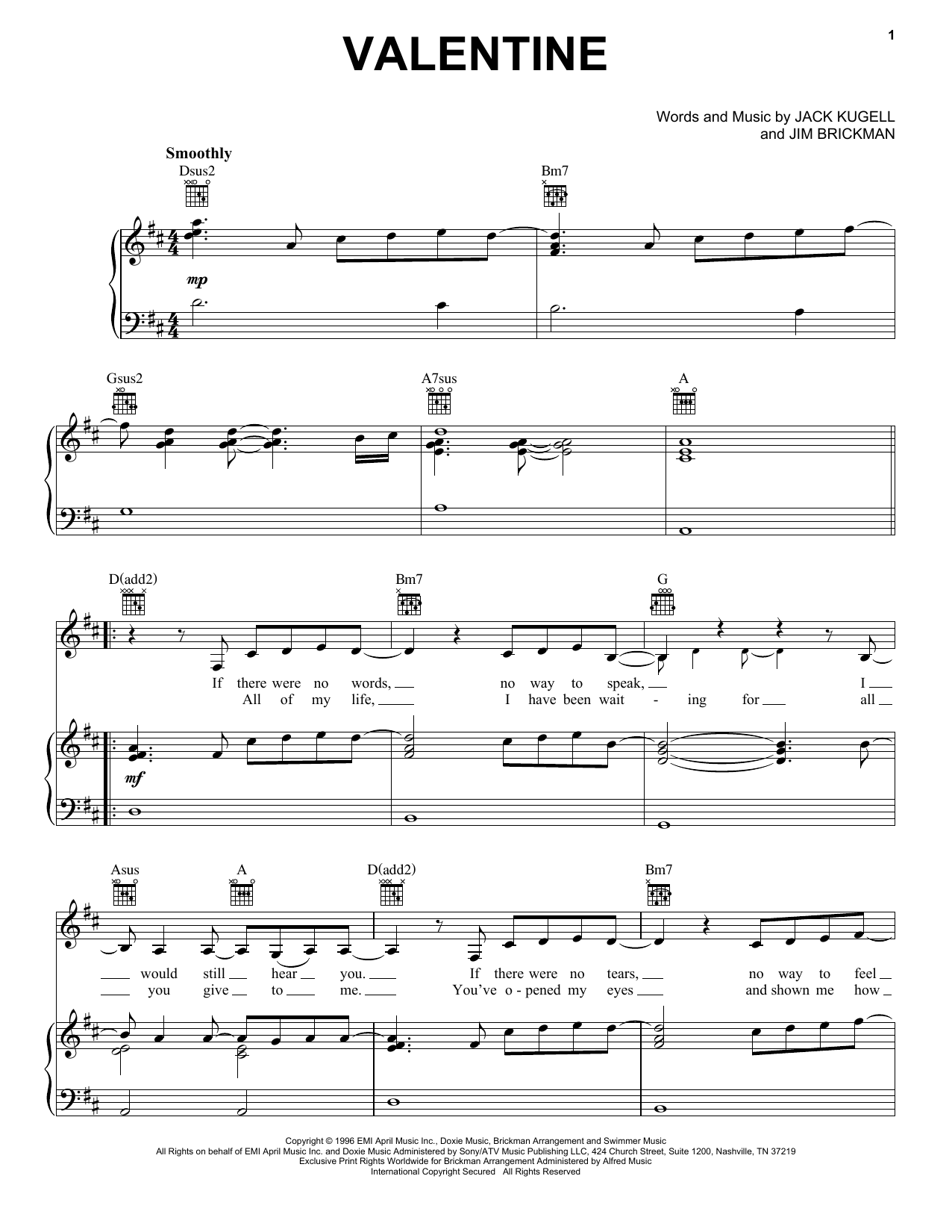 Partition piano Valentine de Jim Brickman and Martina McBride - Piano Voix Guitare (Mélodie Main Droite)