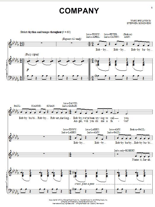 Partition piano Company de Stephen Sondheim - Piano Voix Guitare (Mélodie Main Droite)