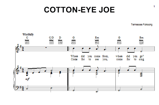 Partition piano Cotton Eyed Joe de Tennessee Folksong - Piano Voix Guitare (Mélodie Main Droite)