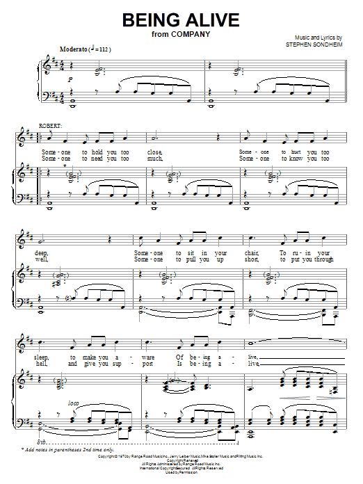 Partition piano Being Alive de Stephen Sondheim - Piano Voix Guitare (Mélodie Main Droite)