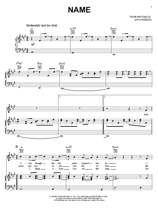Partition piano Name de Goo Goo Dolls - Piano Voix Guitare (Mélodie Main Droite)