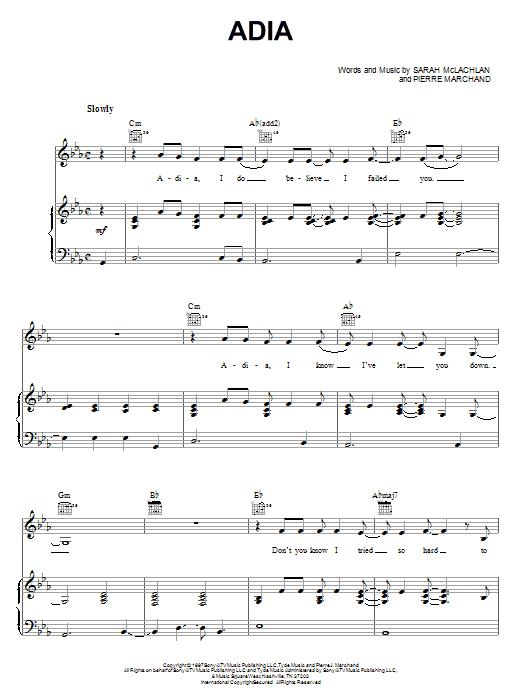 Partition piano Adia de Sarah McLachlan - Piano Voix Guitare (Mélodie Main Droite)