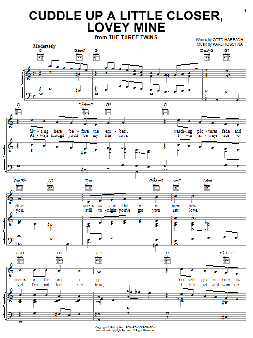 Cuddle Up A Little Closer, Lovey Mine sheet music for voice, piano or guitar by Otto Harbach