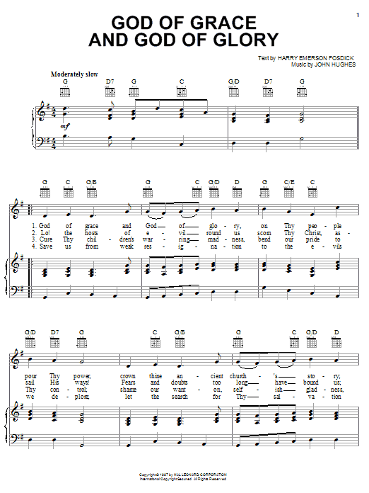 Partition piano God Of Grace And God Of Glory de Harry Emerson Fosdick - Piano Voix Guitare (Mélodie Main Droite)
